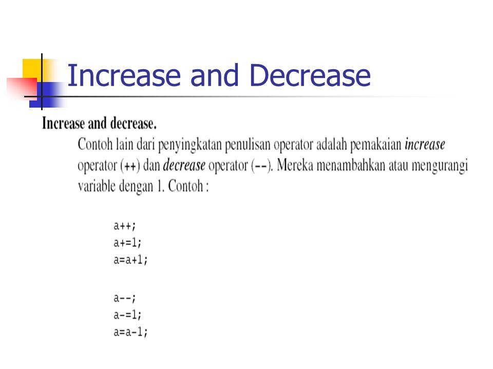 Increase and Decrease