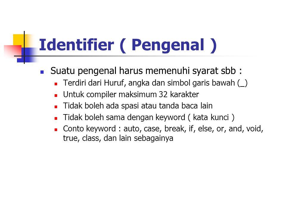 Identifier ( Pengenal )  Suatu pengenal harus memenuhi syarat sbb :  Terdiri dari Huruf, angka dan simbol garis bawah (_)  Untuk compiler maksimum