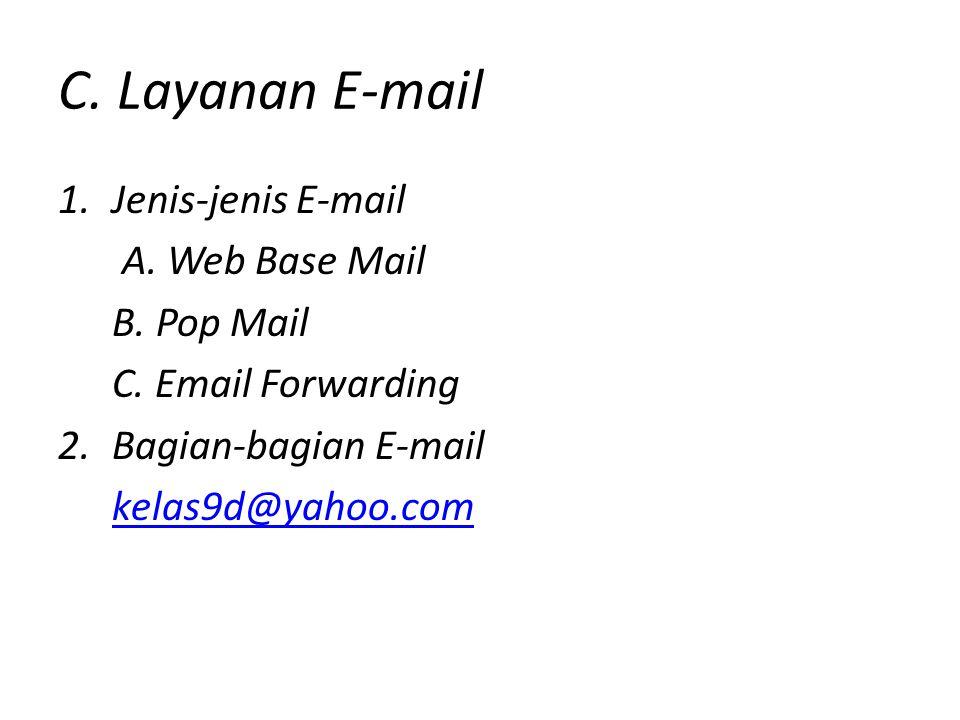 C.Layanan E-mail 1.Jenis-jenis E-mail A. Web Base Mail B.