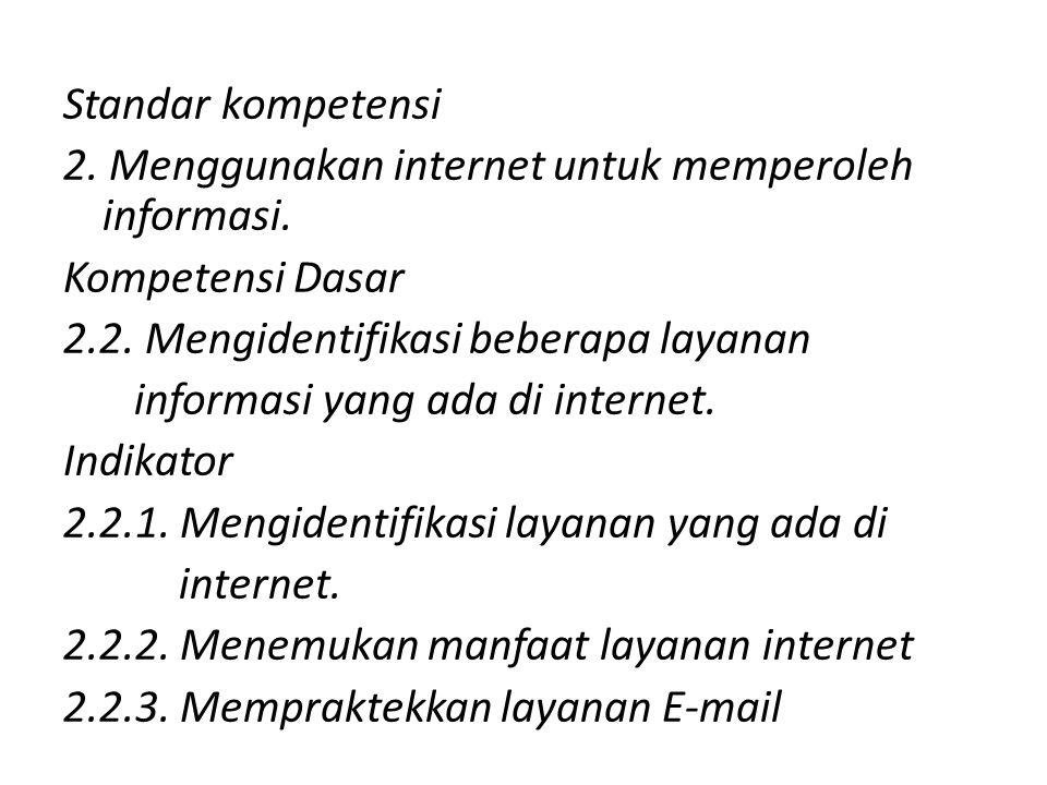 Standar kompetensi 2.Menggunakan internet untuk memperoleh informasi.