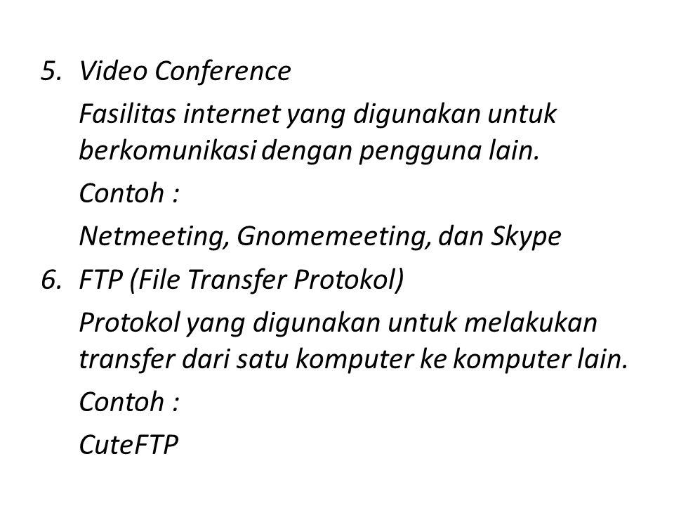 5.Video Conference Fasilitas internet yang digunakan untuk berkomunikasi dengan pengguna lain.