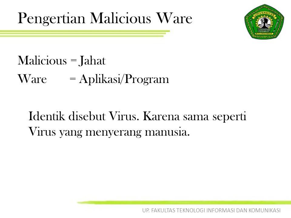 Kriteria Malicious Ware Suatu program dapat disebut sebagai suatu virus apabila memenuhi minimal 5 kriteria berikut : 1.