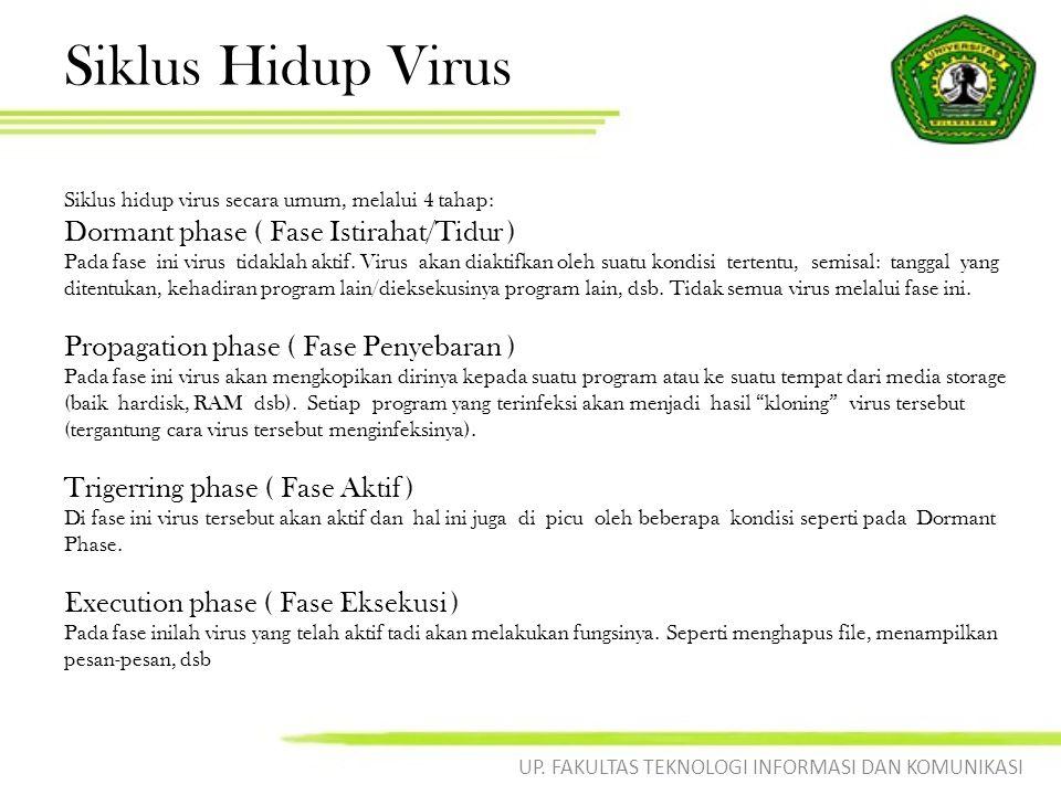 Siklus Hidup Virus Siklus hidup virus secara umum, melalui 4 tahap: Dormant phase ( Fase Istirahat/Tidur ) Pada fase ini virus tidaklah aktif. Virus a
