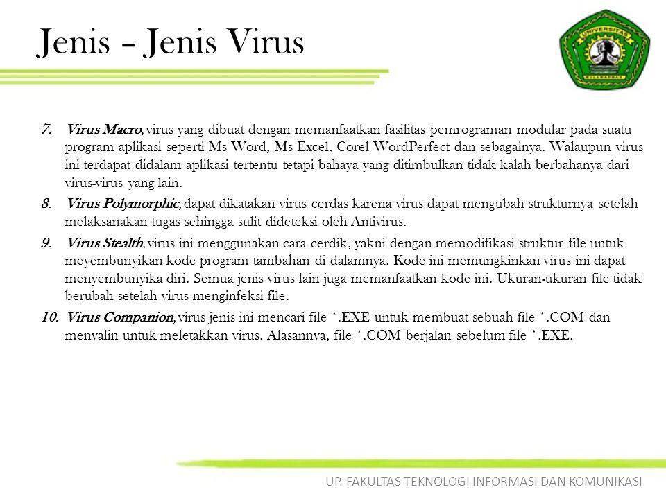 Jenis – Jenis Virus 11.Worm, ini adalah sebuah program yang bersifat parasit karena dapat menduplikasi diri.