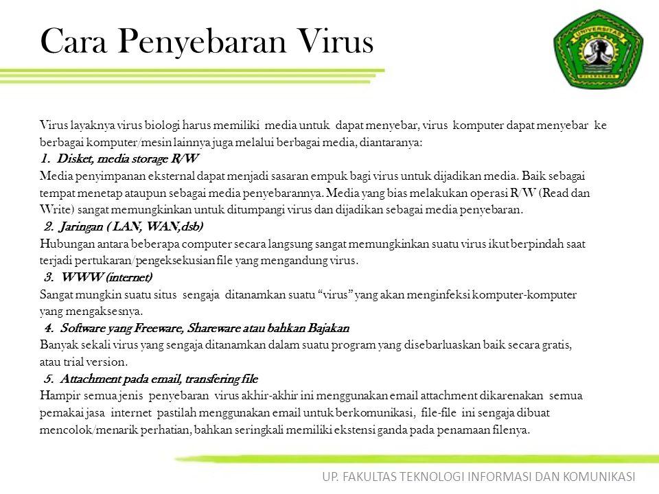Cara Penyebaran Virus Virus layaknya virus biologi harus memiliki media untuk dapat menyebar, virus komputer dapat menyebar ke berbagai komputer/mesin