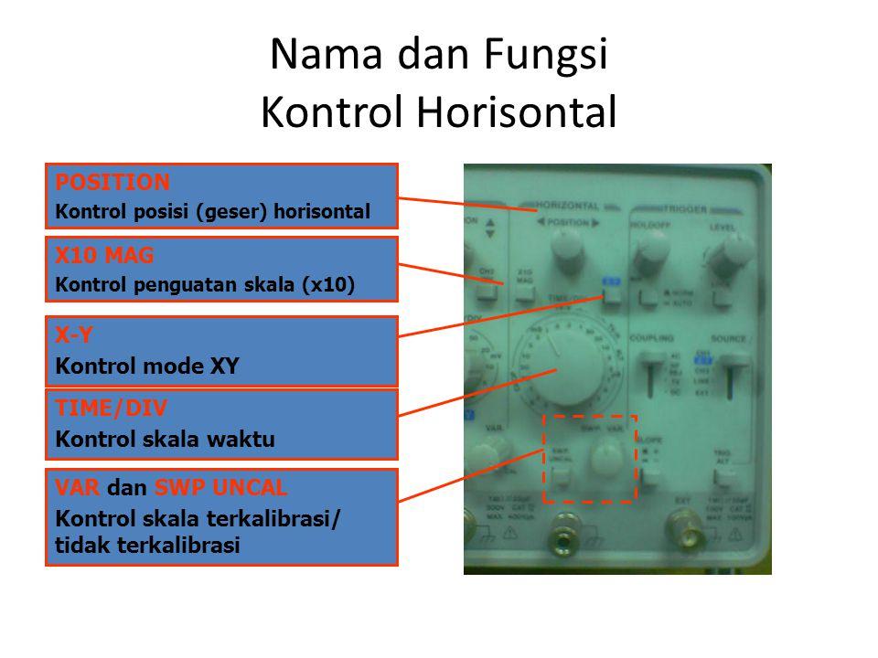 Nama dan Fungsi Kontrol Horisontal POSITION Kontrol posisi (geser) horisontal X10 MAG Kontrol penguatan skala (x10) X-Y Kontrol mode XY TIME/DIV Kontrol skala waktu VAR dan SWP UNCAL Kontrol skala terkalibrasi/ tidak terkalibrasi