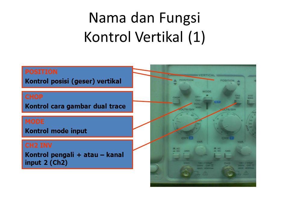 Nama dan Fungsi Kontrol Vertikal (2) VOLTS/DIV Kontrol skala tegangan AC DC GND Kontrol kopling input VAR Kontrol skala terkalibrasi/ tidak terkalibrasi CH1 CH2 Port input kanal 1 dan kanal 2 BNC betina