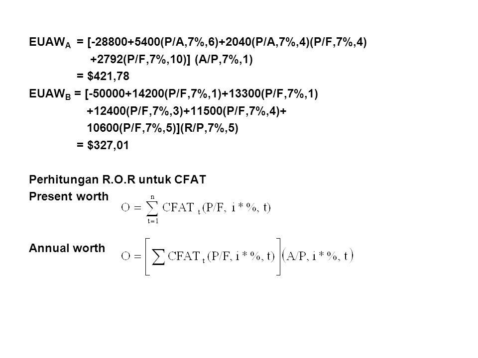 EUAW A = [-28800+5400(P/A,7%,6)+2040(P/A,7%,4)(P/F,7%,4) +2792(P/F,7%,10)] (A/P,7%,1) = $421,78 EUAW B = [-50000+14200(P/F,7%,1)+13300(P/F,7%,1) +12400(P/F,7%,3)+11500(P/F,7%,4)+ 10600(P/F,7%,5)](R/P,7%,5) = $327,01 Perhitungan R.O.R untuk CFAT Present worth Annual worth