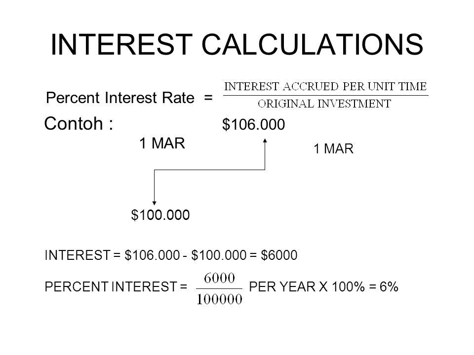 INTEREST CALCULATIONS Percent Interest Rate = Contoh : $106.000 1 MAR $100.000 INTEREST = $106.000 - $100.000 = $6000 PERCENT INTEREST = PER YEAR X 100% = 6% 1 MAR