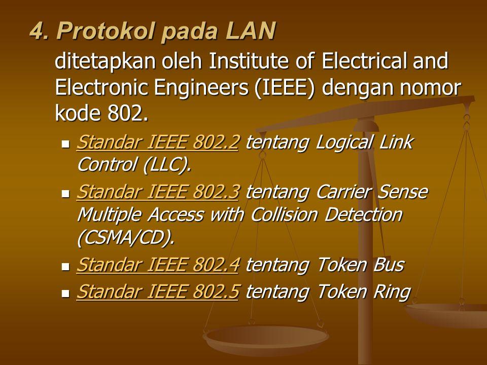 4. Protokol pada LAN ditetapkan oleh Institute of Electrical and Electronic Engineers (IEEE) dengan nomor kode 802.  Standar IEEE 802.2 tentang Logic
