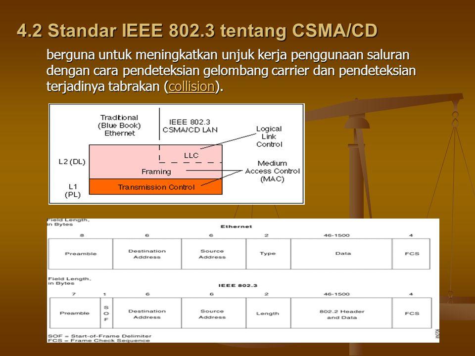 4.2 Standar IEEE 802.3 tentang CSMA/CD berguna untuk meningkatkan unjuk kerja penggunaan saluran dengan cara pendeteksian gelombang carrier dan pendeteksian terjadinya tabrakan (collision).