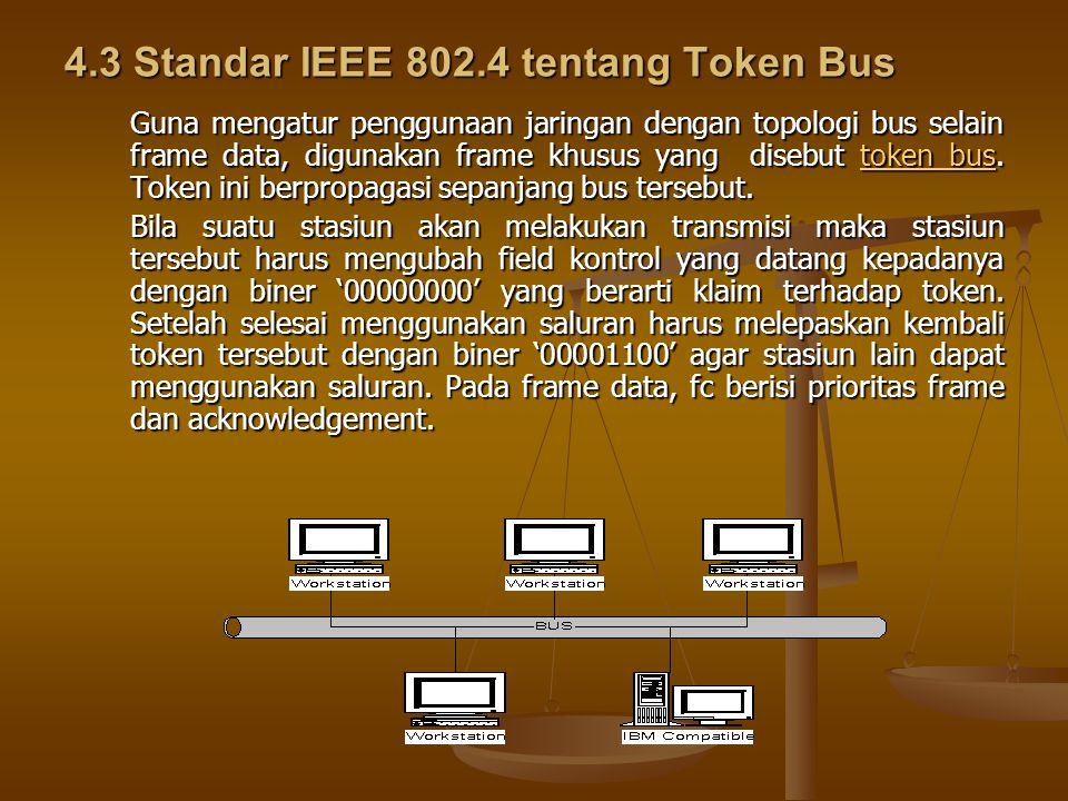 4.3 Standar IEEE 802.4 tentang Token Bus Guna mengatur penggunaan jaringan dengan topologi bus selain frame data, digunakan frame khusus yang disebut token bus.