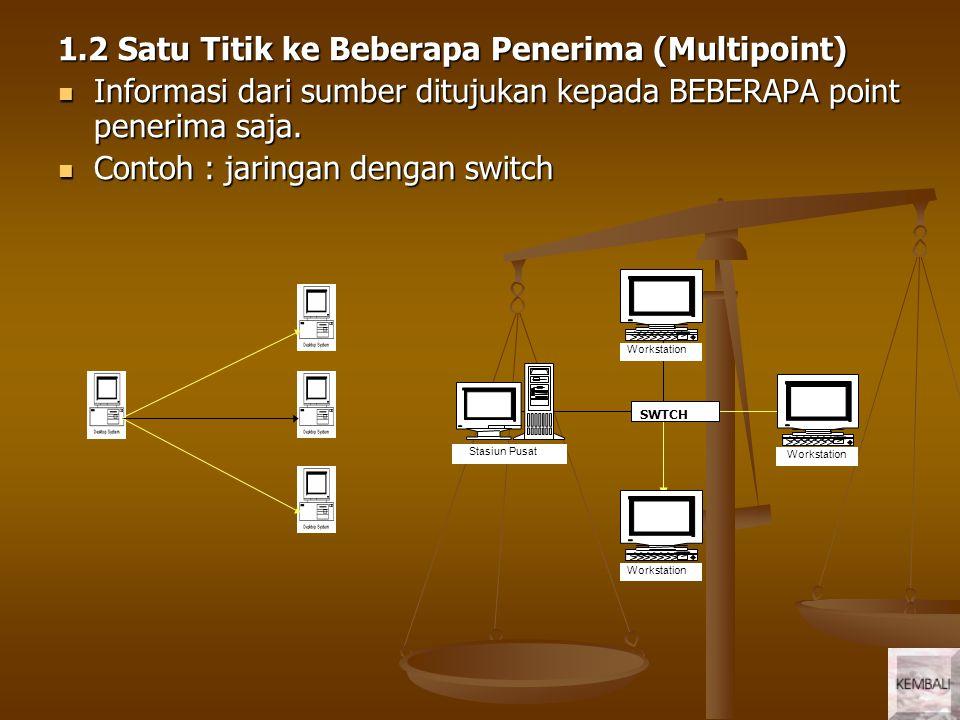 1.3 Menyebar (broadcast) Informasi yang diberikan sumber dapat diterima oleh semua stasiun/titik.