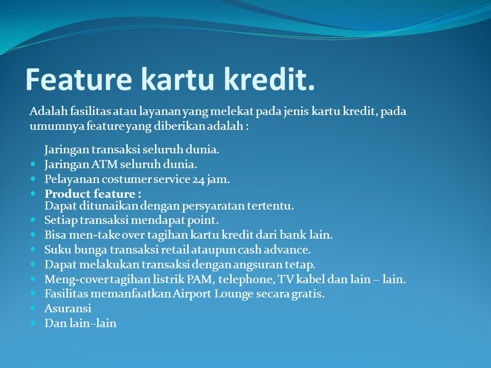 Feature kartu kredit.