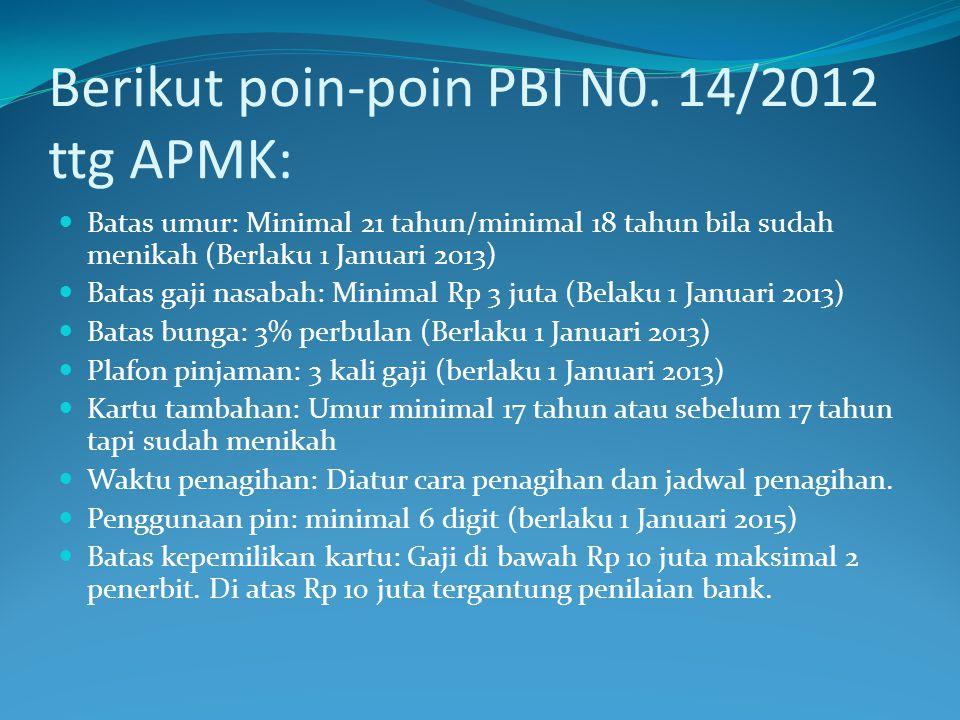 Berikut poin-poin PBI N0. 14/2012 ttg APMK:  Batas umur: Minimal 21 tahun/minimal 18 tahun bila sudah menikah (Berlaku 1 Januari 2013)  Batas gaji n