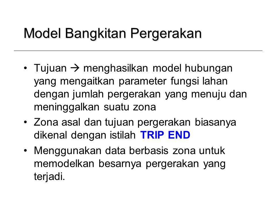 Model Bangkitan Pergerakan •Tujuan  menghasilkan model hubungan yang mengaitkan parameter fungsi lahan dengan jumlah pergerakan yang menuju dan menin