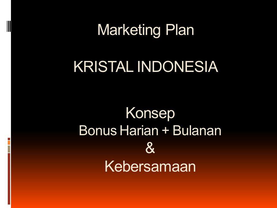 Marketing Plan KRISTAL INDONESIA Konsep Bonus Harian + Bulanan & Kebersamaan