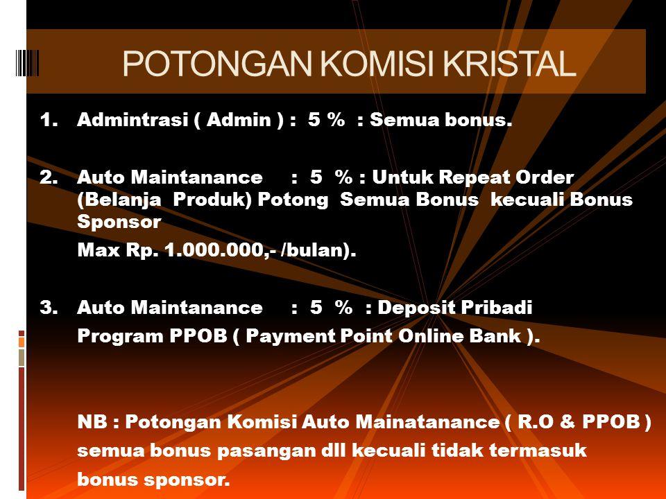 1.Admintrasi ( Admin ) : 5 % : Semua bonus. 2.Auto Maintanance : 5 % : Untuk Repeat Order (Belanja Produk) Potong Semua Bonus kecuali Bonus Sponsor Ma