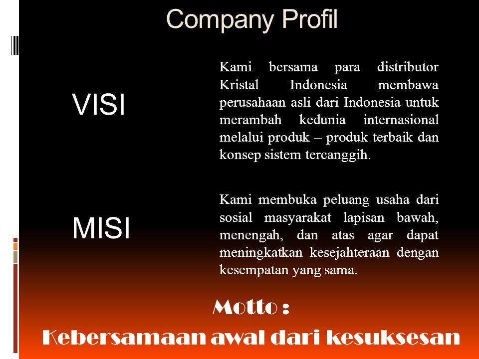 Company Profil Kami bersama para distributor Kristal Indonesia membawa perusahaan asli dari Indonesia untuk merambah kedunia internasional melalui produk – produk terbaik dan konsep sistem tercanggih.