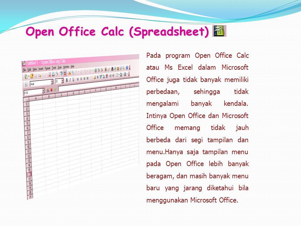 Pada program Open Office Calc atau Ms Excel dalam Microsoft Office juga tidak banyak memiliki perbedaan, sehingga tidak mengalami banyak kendala. Inti