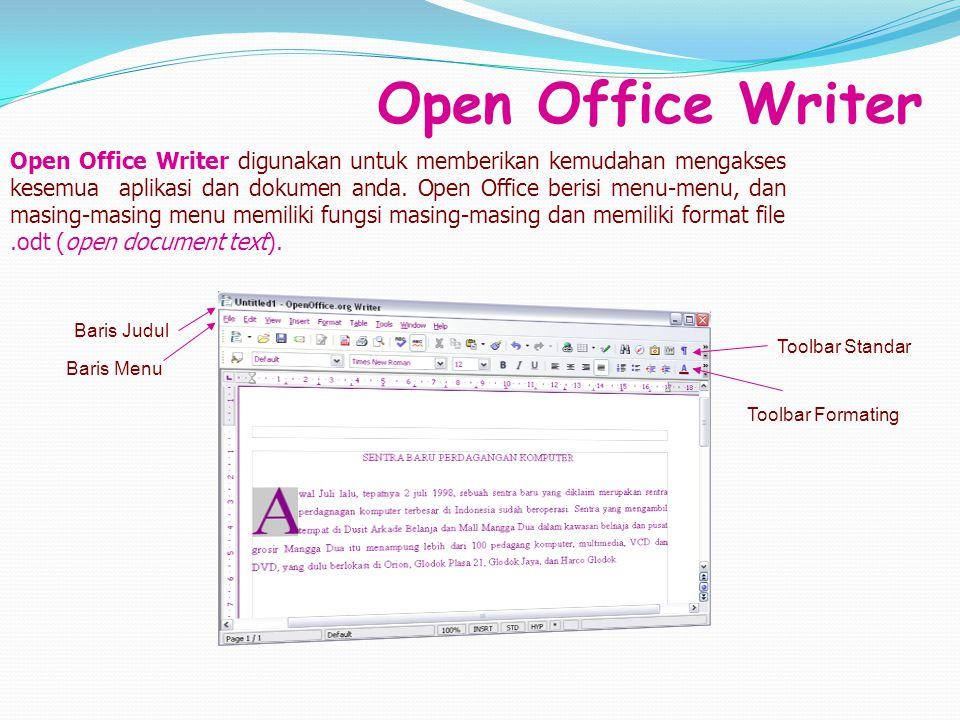 Open Office Writer Open Office Writer digunakan untuk memberikan kemudahan mengakses kesemua aplikasi dan dokumen anda. Open Office berisi menu-menu,
