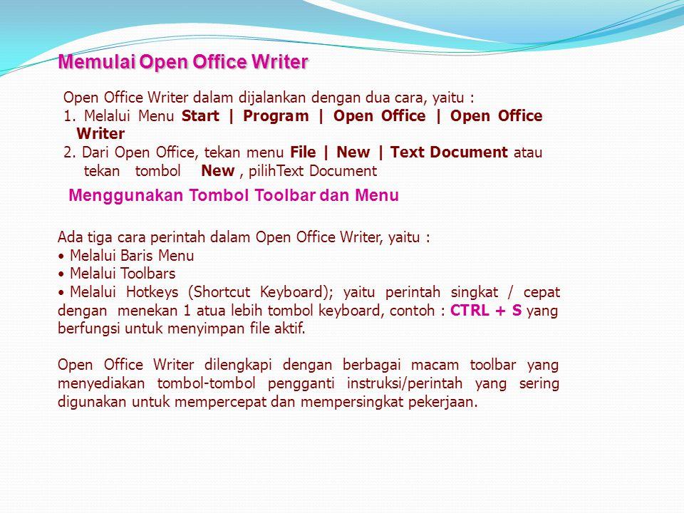Memulai Open Office Writer Open Office Writer dalam dijalankan dengan dua cara, yaitu : 1. Melalui Menu Start | Program | Open Office | Open Office Wr