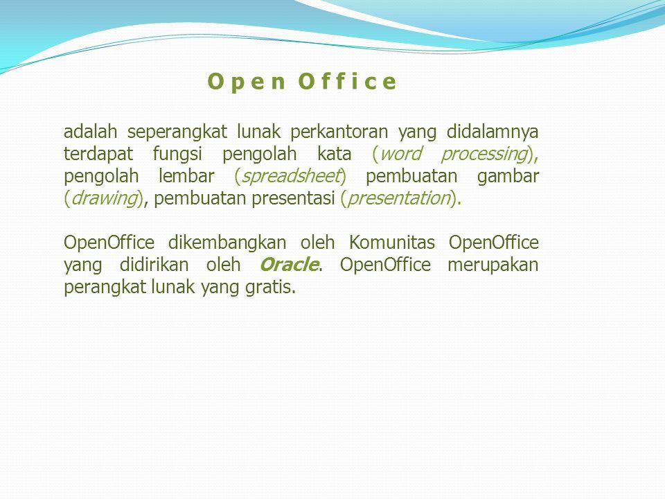 Open Office bisa tersedia dalam 2 muka baik dengan Sistem Operasi Windows dan Linux.