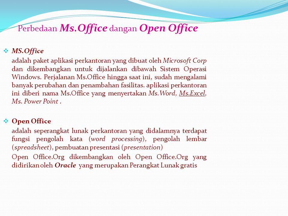 Kelebihan Open Office 1.Tidak ada biaya lisensi 2.