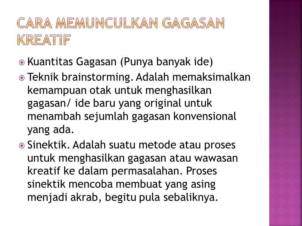  Kuantitas Gagasan (Punya banyak ide)  Teknik brainstorming.