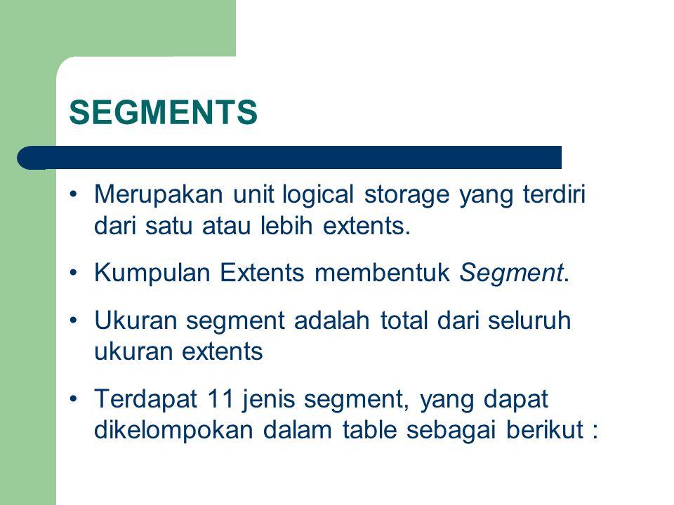 SEGMENTS •Merupakan unit logical storage yang terdiri dari satu atau lebih extents.