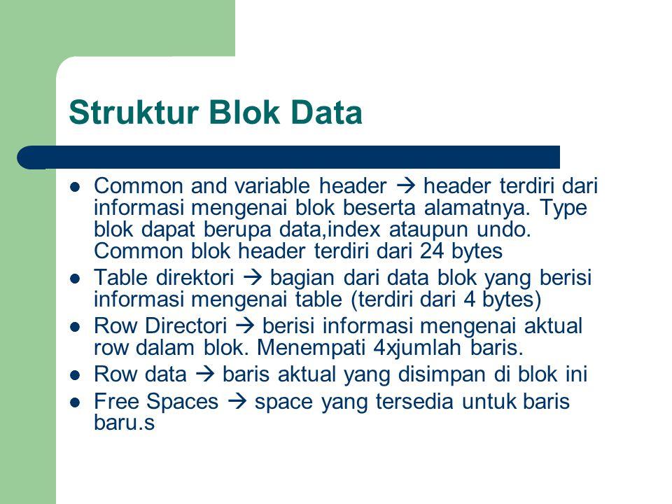 Struktur Blok Data  Common and variable header  header terdiri dari informasi mengenai blok beserta alamatnya.
