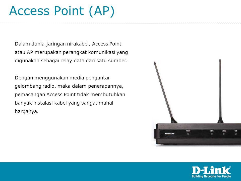 Access Point (AP) Dalam dunia jaringan nirakabel, Access Point atau AP merupakan perangkat komunikasi yang digunakan sebagai relay data dari satu sumb
