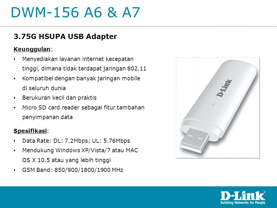 DWM-156 A6 & A7 Keunggulan: • Menyediakan layanan internet kecepatan tinggi, dimana tidak terdapat jaringan 802.11 • Kompatibel dengan banyak jaringan