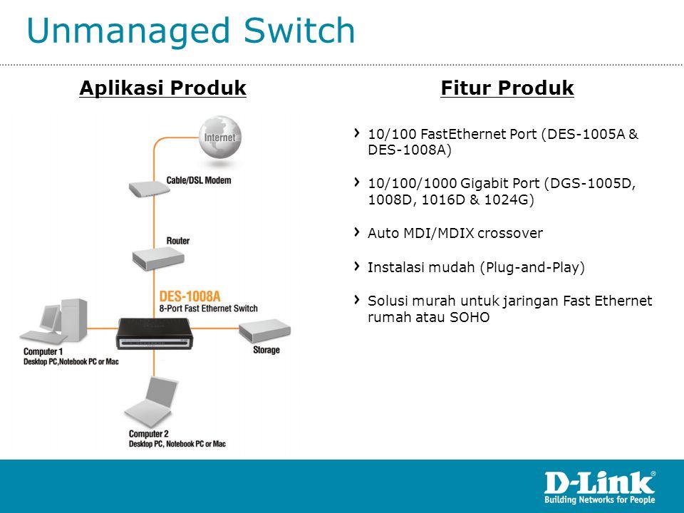 Unmanaged Switch Aplikasi ProdukFitur Produk 10/100 FastEthernet Port (DES-1005A & DES-1008A) 10/100/1000 Gigabit Port (DGS-1005D, 1008D, 1016D & 1024