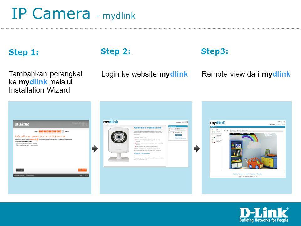 IP Camera - mydlink Step 2:Step3: Step 1: Tambahkan perangkat ke mydlink melalui Installation Wizard Login ke website mydlinkRemote view dari mydlink