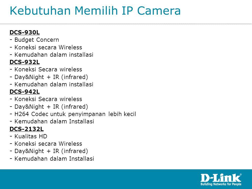 Kebutuhan Memilih IP Camera DCS-930L - Budget Concern - Koneksi secara Wireless - Kemudahan dalam installasi DCS-932L - Koneksi Secara wireless - Day&