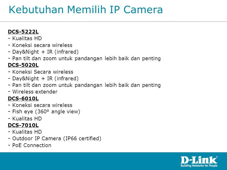 Kebutuhan Memilih IP Camera DCS-5222L - Kualitas HD - Koneksi secara wireless - Day&Night + IR (infrared) - Pan tilt dan zoom untuk pandangan lebih ba