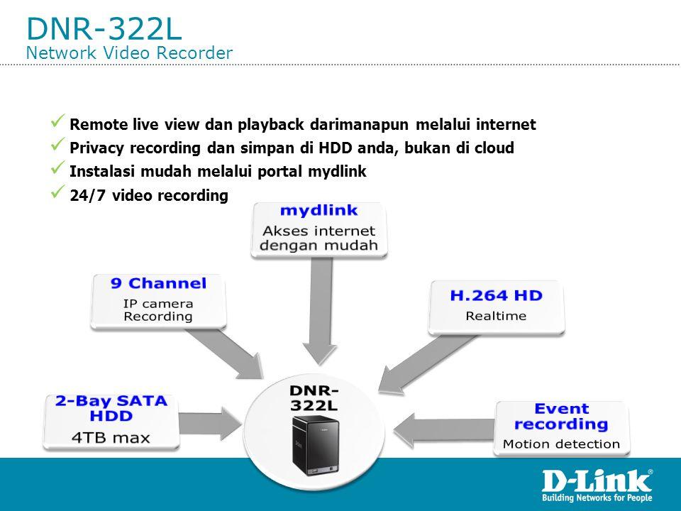 DNR-322L Network Video Recorder  Remote live view dan playback darimanapun melalui internet  Privacy recording dan simpan di HDD anda, bukan di clou