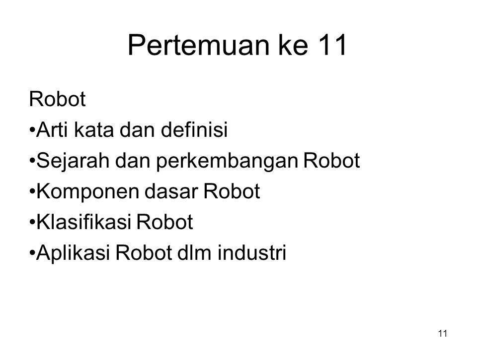 11 Pertemuan ke 11 Robot •Arti kata dan definisi •Sejarah dan perkembangan Robot •Komponen dasar Robot •Klasifikasi Robot •Aplikasi Robot dlm industri