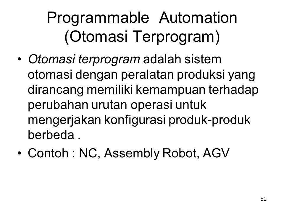 52 Programmable Automation (Otomasi Terprogram) •Otomasi terprogram adalah sistem otomasi dengan peralatan produksi yang dirancang memiliki kemampuan