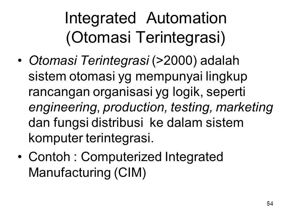 54 Integrated Automation (Otomasi Terintegrasi) •Otomasi Terintegrasi (>2000) adalah sistem otomasi yg mempunyai lingkup rancangan organisasi yg logi