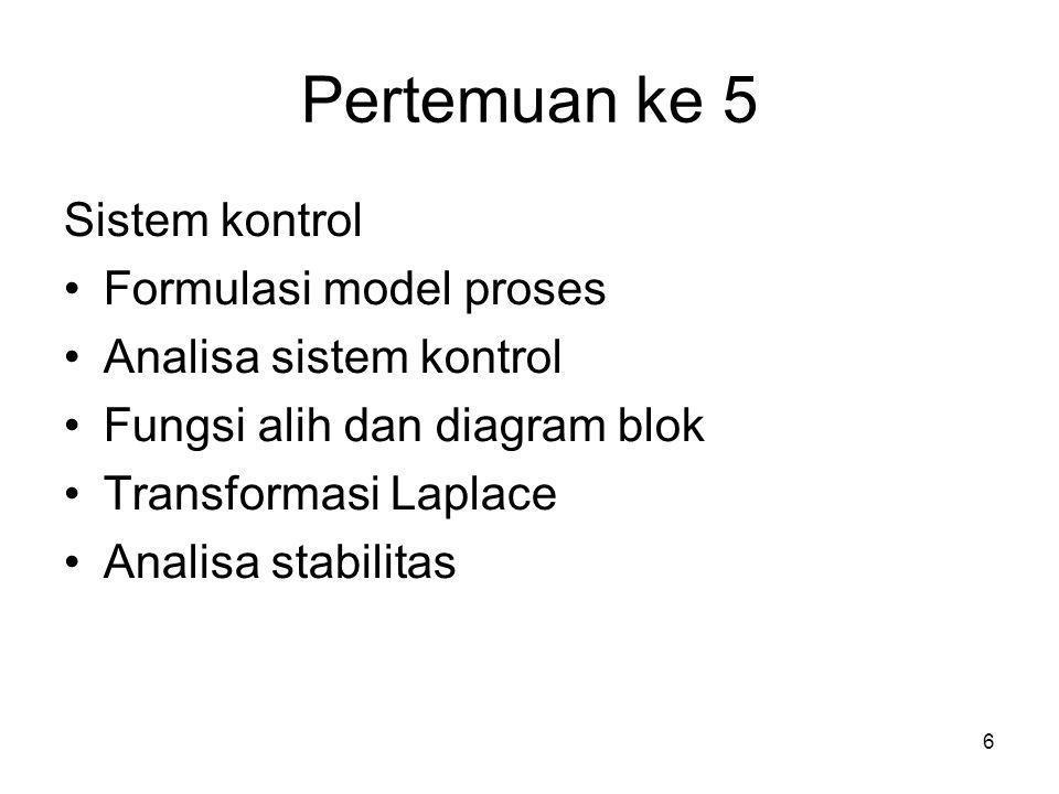 6 Pertemuan ke 5 Sistem kontrol •Formulasi model proses •Analisa sistem kontrol •Fungsi alih dan diagram blok •Transformasi Laplace •Analisa stabilita
