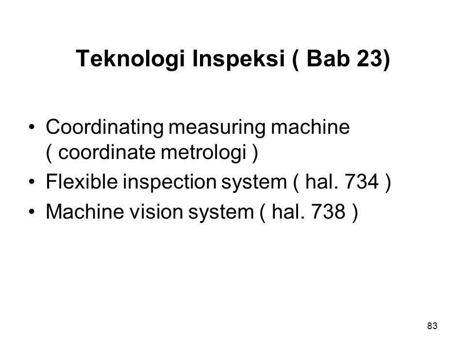 83 Teknologi Inspeksi ( Bab 23) •Coordinating measuring machine ( coordinate metrologi ) •Flexible inspection system ( hal. 734 ) •Machine vision s