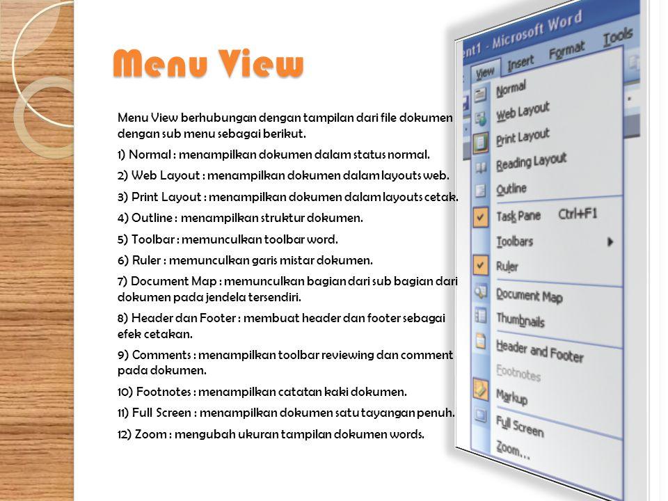 Menu View Menu View berhubungan dengan tampilan dari file dokumen dengan sub menu sebagai berikut. 1) Normal : menampilkan dokumen dalam status normal