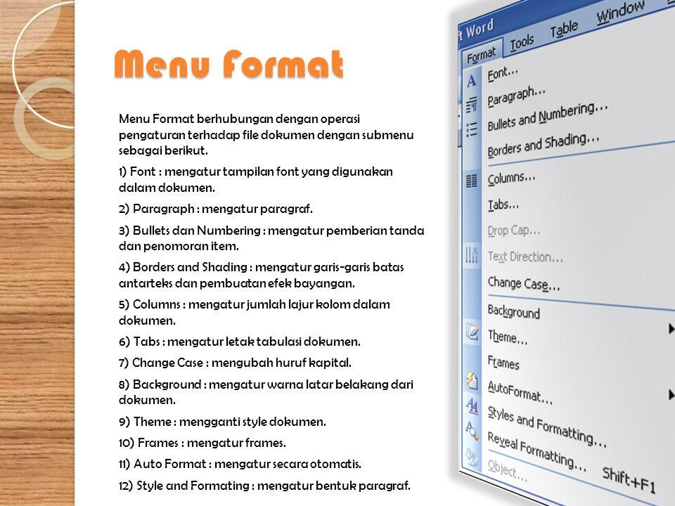 Menu Format Menu Format berhubungan dengan operasi pengaturan terhadap file dokumen dengan submenu sebagai berikut. 1) Font : mengatur tampilan font y