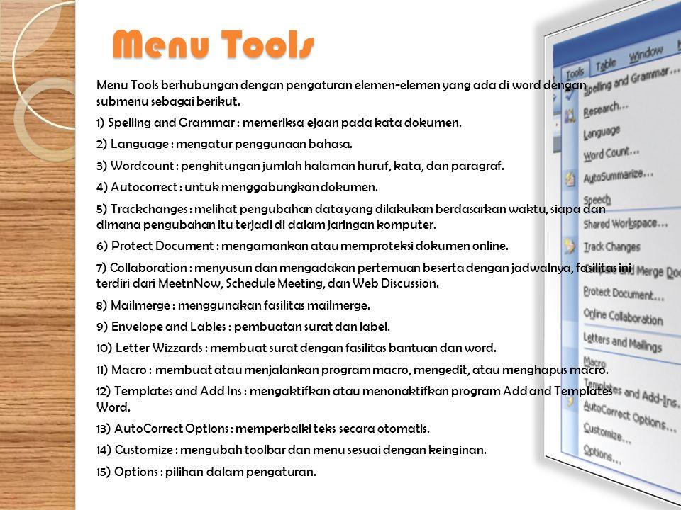 Menu Tools Menu Tools berhubungan dengan pengaturan elemen-elemen yang ada di word dengan submenu sebagai berikut. 1) Spelling and Grammar : memeriksa