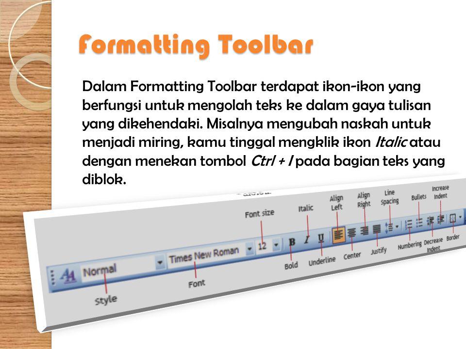 Formatting Toolbar Dalam Formatting Toolbar terdapat ikon-ikon yang berfungsi untuk mengolah teks ke dalam gaya tulisan yang dikehendaki. Misalnya men