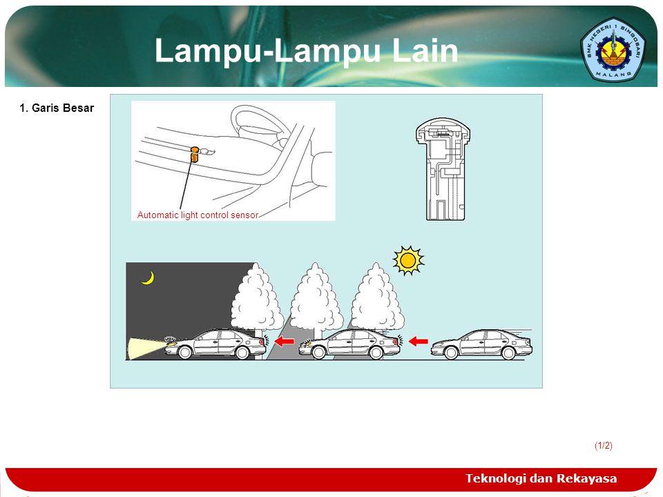 Teknologi dan Rekayasa (1/2) Lampu-Lampu Lain Automatic light control sensor 1. Garis Besar