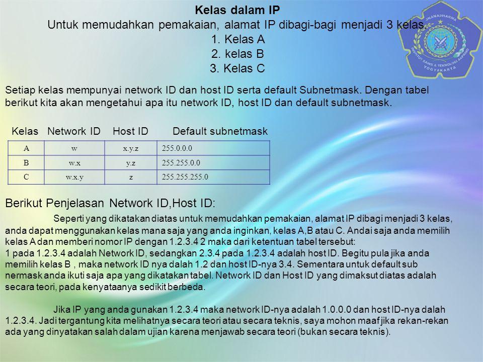 Kelas dalam IP Untuk memudahkan pemakaian, alamat IP dibagi-bagi menjadi 3 kelas.