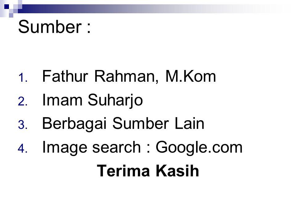 Sumber : 1. Fathur Rahman, M.Kom 2. Imam Suharjo 3. Berbagai Sumber Lain 4. Image search : Google.com Terima Kasih